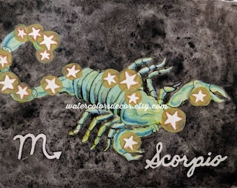 Scorpio Constellation Watercolor Print Astrology Wall Art Astronomy Decor Gift Scorpion Picture Star Sign Poster Zodiac Horoscope Artwork