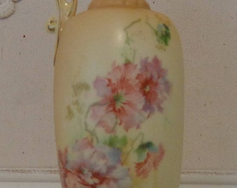 Antique Vintage Hand Painted Ewer Vase, Small Hand Painted Porcelain Ewer