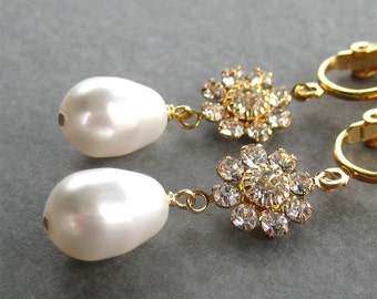Gold Rhinestone Flower Clip On Earrings, White Pearl Teardrop Bridal Clipons, Sparkling Flower Wedding Clip Earrings, Handmade, Gold Dolly