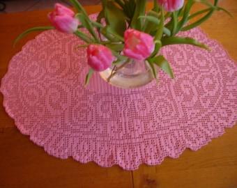 Pink oval doily