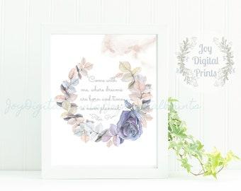 Girl's Nursery Print, Digital Art Print, Boho Print, Realistic Watercolor, Watercolor Wreath, Dreams are Born, Quote