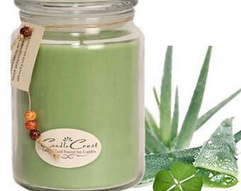 Green Clover and Aloe Scented Soy Candles,  100% Natural Soy Wax,  Long Lasting Candles