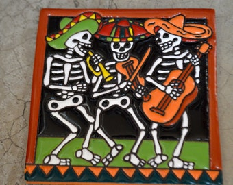 Talavera Mexican Tile Mosaic Day of the Dead / Mariachi