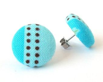Turquoise stud earrings - blue fabric earrings - blue button earrings - mint cyan summer stripes brown dots girlfriend gift best friend