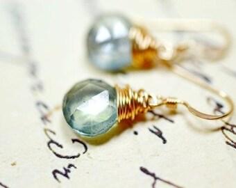 Green Gemstone Earrings, Simple 14k Gold Wire Wrap Gemstone Dangles, Sage Green Pale Teal Quartz Drops