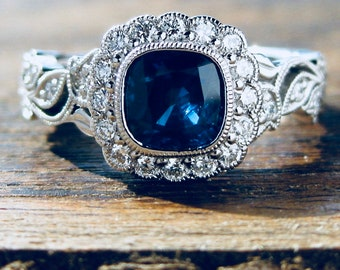 Ceylon Blue Sapphire Engagement Ring in Palladium with Diamonds in Flower Buds and Leafs on Vine Size 6