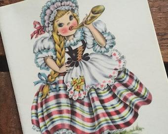 Vintage Dolls of Many Lands Card - Doll of Switzerland - Blank Inside - Unused