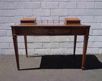Desk Vanity Writing Table Vintage Brass Storage Regency Mid Century Modern French Provincial Vanity Shabby Glam Wood MCM CUSTOM PAINT Avail