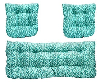 3 Piece Wicker Cushion Set Loveseat Settee & 2 Cushions-Turquoise Floral Bloom