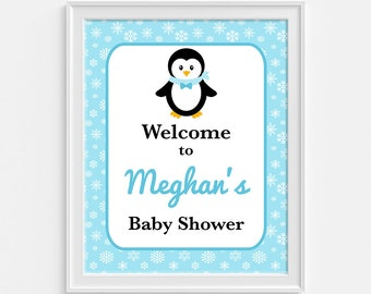 Penguin Baby Shower Welcome Sign, Personalized Welcome Sign, Blue Snowflake Sign, Winter Baby Boy Shower, DIY PRINTABLE