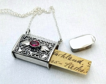 Stash necklace - Ruby secret box necklace - beautiful solid sterling silver filigree prayer box pendant - genuine ruby - locket pendant