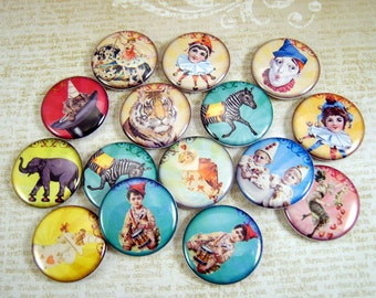 Vintage Circus Flatback Buttons, Pins, Magnets 12 Ct. Set A
