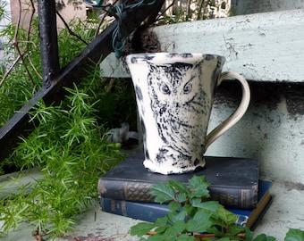 Owl Mug - Porcelain - 8 inches wide - Screech Owl