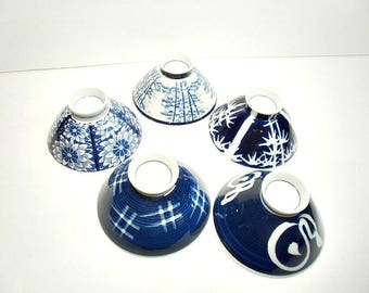 Vintage Rice Noodle Bowls, Cobalt Blue and White Dishes, Serving Ware, Table Ware
