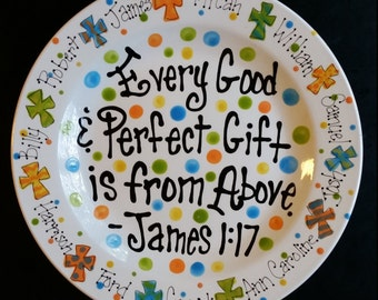 """Personalized 12"""" James 1:17 Platter. Wonderful gift for mom or grandma to celebrate all her special loved ones!"""