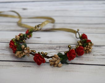 Handcrafted Red Rose and Gold Berry Flower Crown - Holiday Wedding Accessory - Romantic Flower Crown - Flower Girl Crown - Small Flower Halo