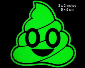 Emoji Poo Glow in the Dark Decal / Sticker - Macbooks, iPhones, Andriod, Smartphones, Halloween, Laptops, Car Windows