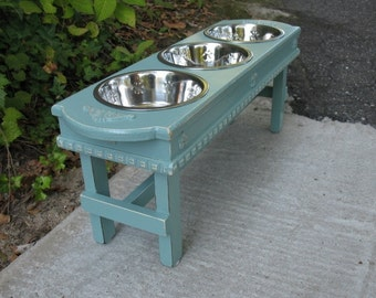 Large Dog Bowl Pet Feeder,Dog Dish, Raised Feeder, 3 Two Quart Stainless Bowls, Cottage Chic, Elevated Pet Feeder - Made to Order