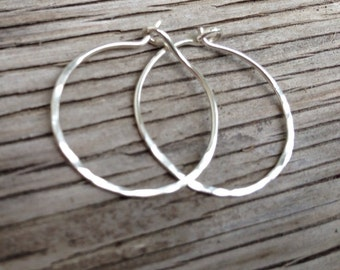 Hoop Earrings: Hammered sterling silver hoops Mothers Day gift for her girlfriend gift handmade jewelry rustic handcrafted gift for her