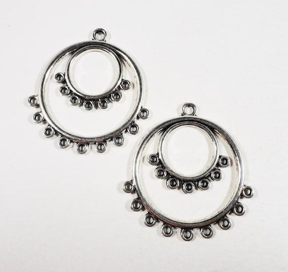 Hoop Earring Connectors 36x34mm Antique Silver Chandelier Earring Findings, Connector Findings, Connector Pendants, Jewelry Findings, 4pcs