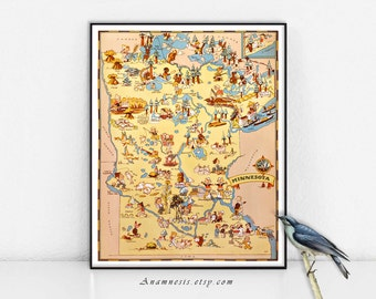 MINNESOTA MAP - Printable Digital Image - fun picture map to print and frame - put on totes, pillows, cards - charming house warming gift