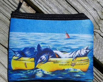 Hatteras Style Liferaft art Coin Purse zippered pouch neoprene billfish grand slam