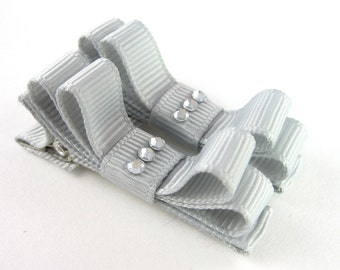 Gray Rhinestone Hair Clips - Double Tuxedo Bow Barrettes Matching pair Alligator for Babies Toddler Girls