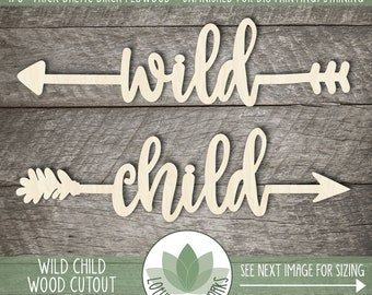 Wild Child Wood Arrow Cutouts, Wood Word Wall Decor, Wild Child Bedroom Wall Decor, Wood Words, Wood Arrows, Nursery Arrow Wall Decor
