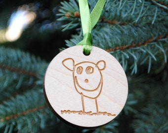 Your Child's Art Christmas ORNAMENT Kid Art Custom Sketch Child's Drawing or Handwriting Gift for Grandparents Mothers Day Fathers Day
