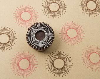 Starburst, hand crafted wooden stamp