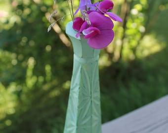 Green Flower candle holder - Vase in verre-Vintage-Vert-chandelier-fleurs-bougies vase
