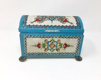Vintage metal tin litho candy box casket shape floral design