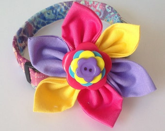 Pink Purple Yellow and Blue Dog & Cat Flower Collar