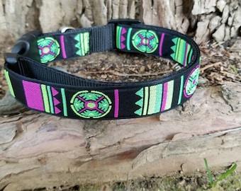 Bright dog collar, dog collar, hippie dog collar, tribal dog collar, ethnic dog collar, south west dog collar, adjustable dog collar, puppy