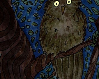 """Glows in the dark!  Owl Eyes - 8"""" x 10"""" matted glow-in-the-dark digital Giclee print from original artwork with hand-painted glow accents"""