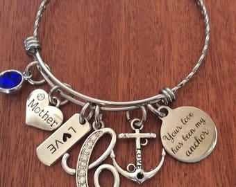 ANCHOR Bracelet, Anchor Jewelry, Anchor Bangle, Anchor Gifts, Anchor Initial Jewelry, Anchor Initial Gifts, Anchor Birthday Gifts Birthstone