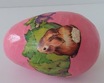 Easter Egg Decorated with Vintage Book Illustration Bunny Cabbage Pink