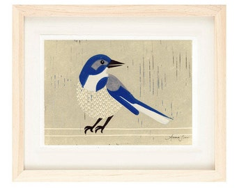 WESTERN SCRUBJAY Linocut Reproduction Art Print: 4 x 6, 5 x 7
