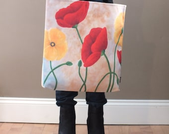 Poppy Print Tote, Large Fabric Tote, Maineteam