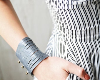 Genuine Leather Multi Strand Cuff Bracelets for Women With Rivet Detail Available in 40 Colors