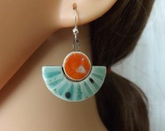 Colourful ceramic earrings, semi-circle earrings, blue earrings, orange earrings, duck egg earrings, boho earrings, festival jewellery,