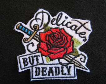Embroidered Rose And Dagger Iron On Patch, Rose Patch, Iron On Patch, Delicate But Deadly Patch, Iron On Rose And Dagger Patch
