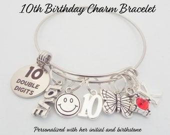 Girl's 10th Birthday Gift, 10th Birthday Charm Bracelet, Birthday Gift for 10 Year Old Girl, Personalized Gift, Birthday Jewelry, Girl Gift