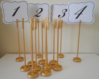 Set of 10 Handmade Extra Tall Glimmering Gold Wood Table Number Holders - Wedding Guest Table Number Markers - Rustic Elegance