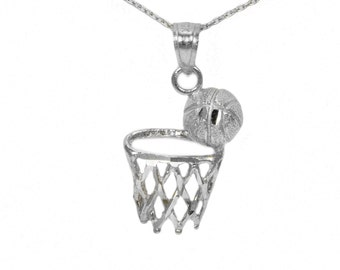 14k White Gold Basketball Necklace
