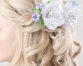 wedding flower hairpiece, bridal hair combs, wedding hair accessories, wedding headpiece, flower hair comb, wedding hair comb
