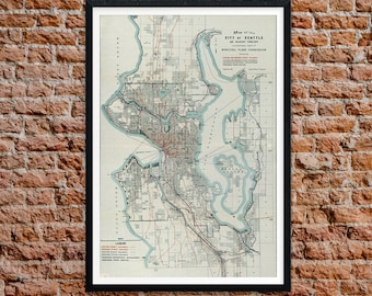 Seattle 1911 Old Map, Vintage Map of Seattle, Home Office Decor, Wall Art