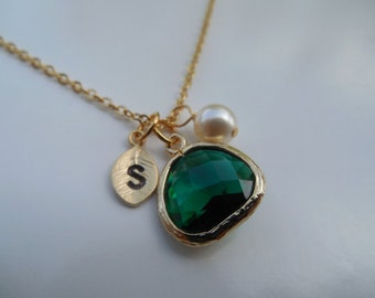 May Birthstone Necklace,Bridesmaid Necklace,Gold or Silver Emerald Necklace with Initial Leaf,Jewel,Pearl,Wedding Gift,Birthday Gift