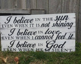 """Rustic Wall Art - """"I Believe in God - Wood Sign"""