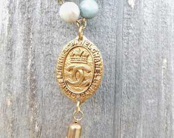 Amazonite / Vintage Chanel medallion from France / Freshwater pearl / 14k gold plated / suede